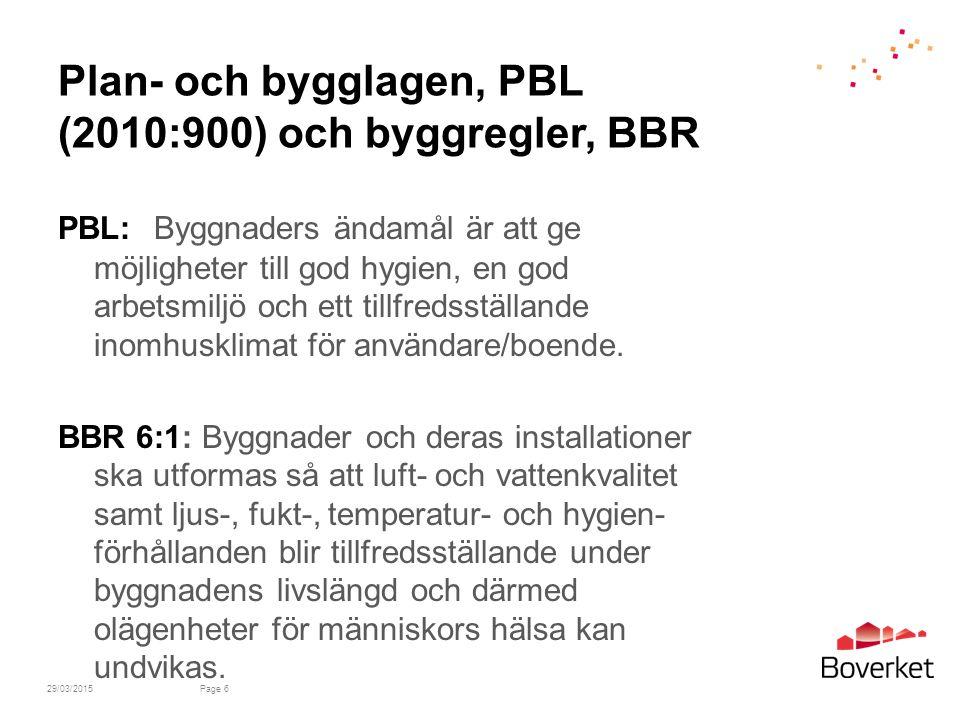 Plan- och bygglagen, PBL (2010:900) och byggregler, BBR