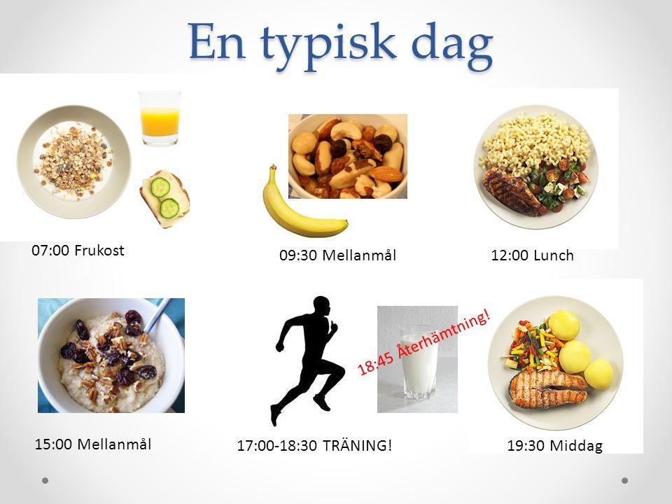 En typisk dag 07:00 Frukost Mellanmål 09:30 Mellanmål 12:00 Lunch
