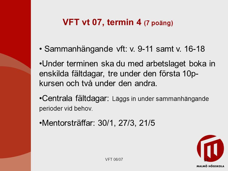 VFT vt 07, termin 4 (7 poäng) Sammanhängande vft: v. 9-11 samt v. 16-18.