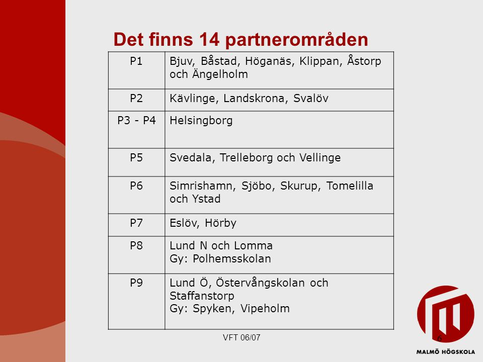 Det finns 14 partnerområden