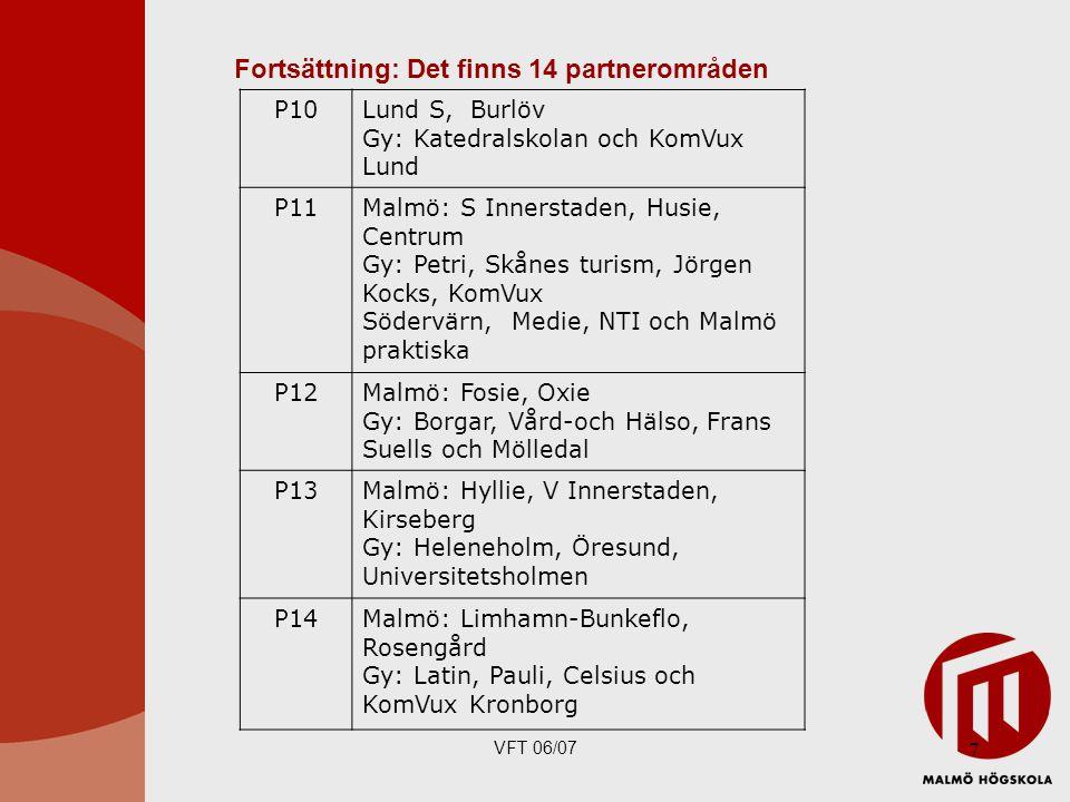 Fortsättning: Det finns 14 partnerområden
