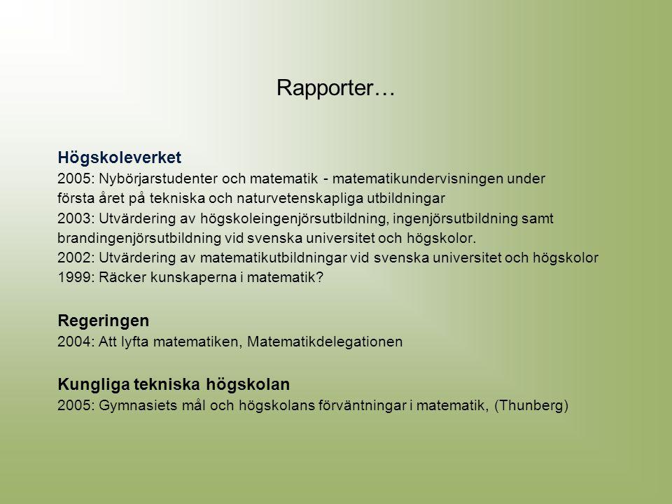 Rapporter… Högskoleverket Regeringen Kungliga tekniska högskolan