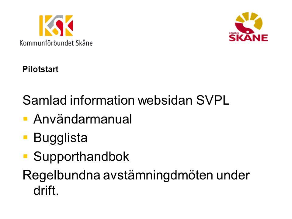 Samlad information websidan SVPL Användarmanual Bugglista