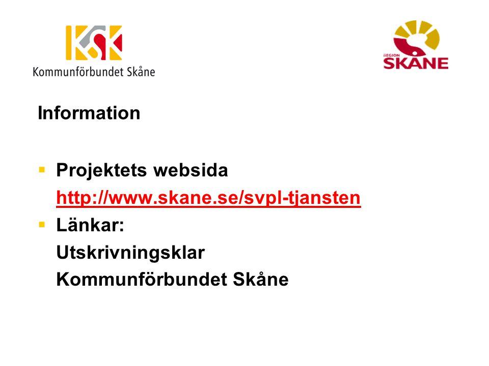 Information Projektets websida. http://www.skane.se/svpl-tjansten.