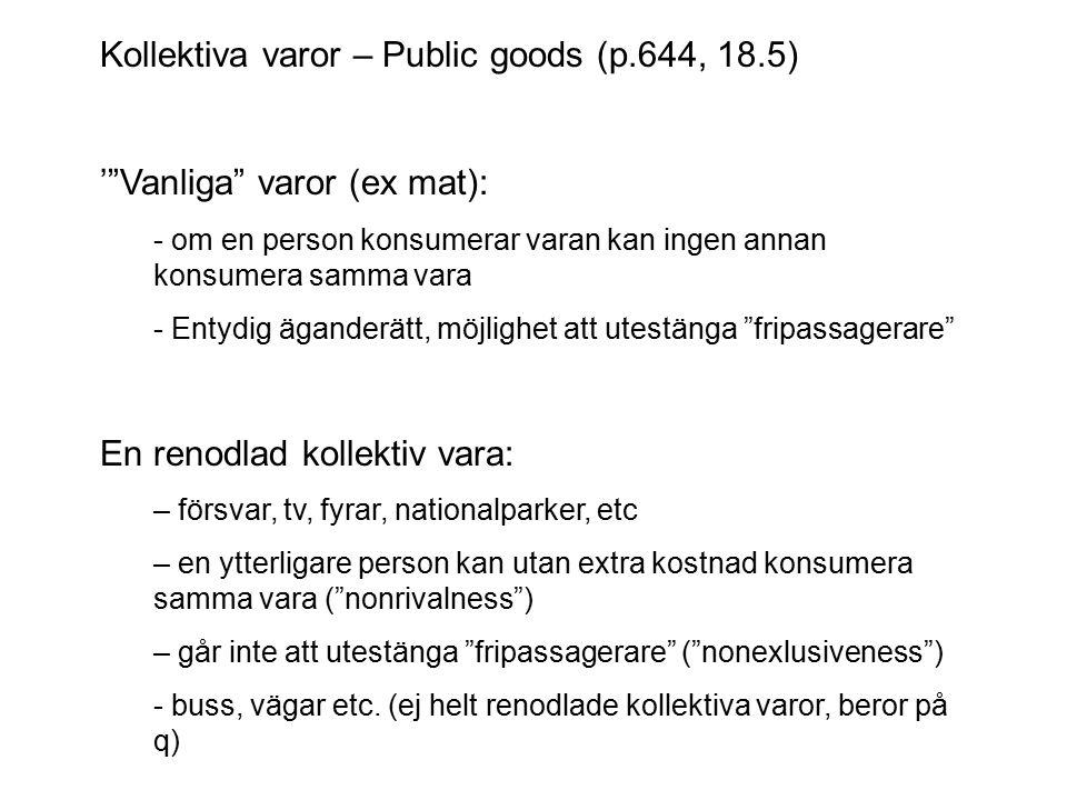 Kollektiva varor – Public goods (p.644, 18.5)