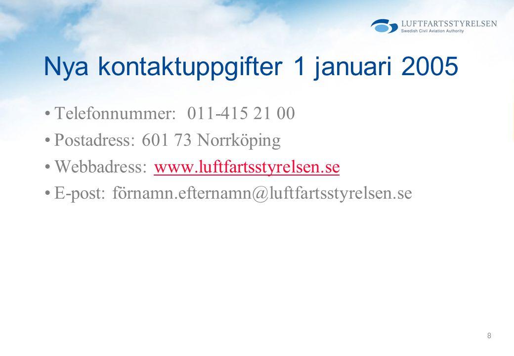 Nya kontaktuppgifter 1 januari 2005