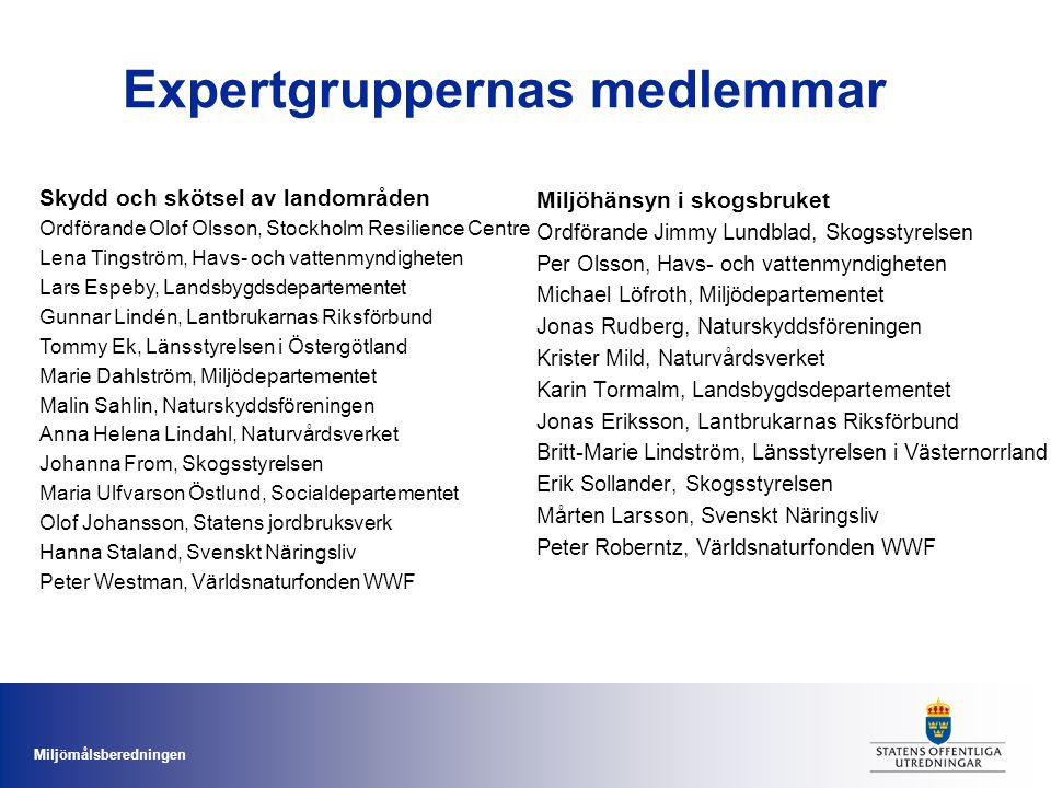 Expertgruppernas medlemmar