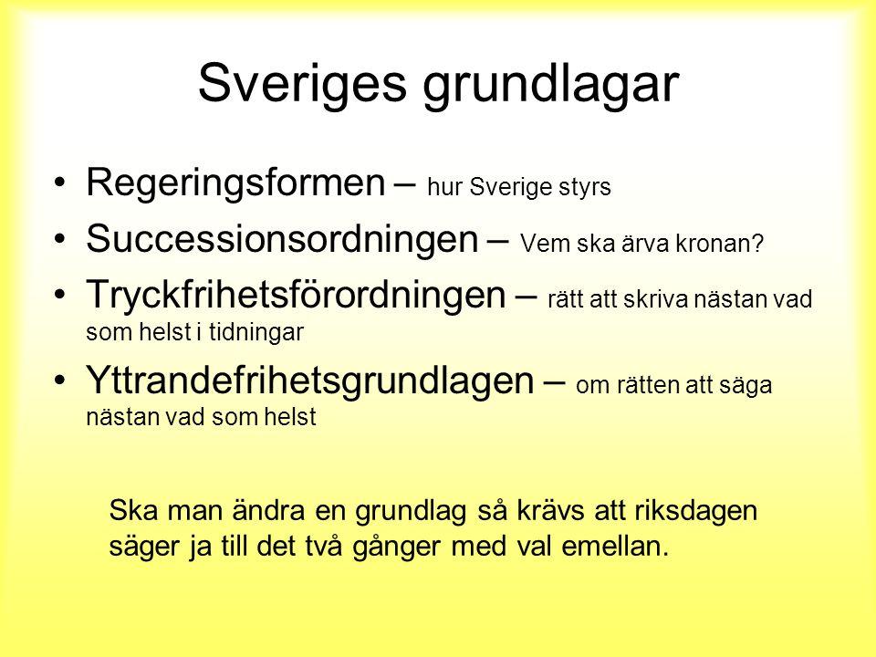 Sveriges grundlagar Regeringsformen – hur Sverige styrs