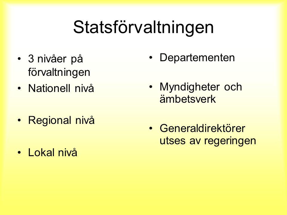 Statsförvaltningen 3 nivåer på förvaltningen Nationell nivå