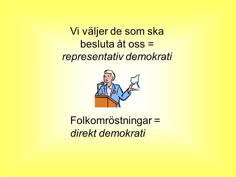Vi väljer de som ska besluta åt oss = representativ demokrati