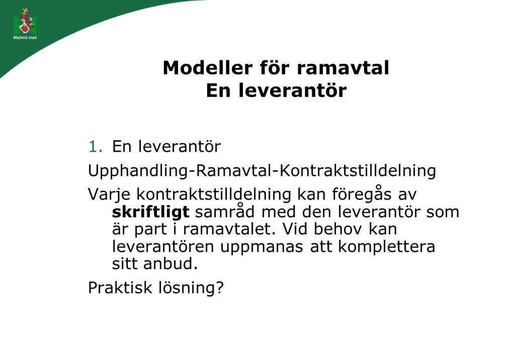 Modeller för ramavtal En leverantör