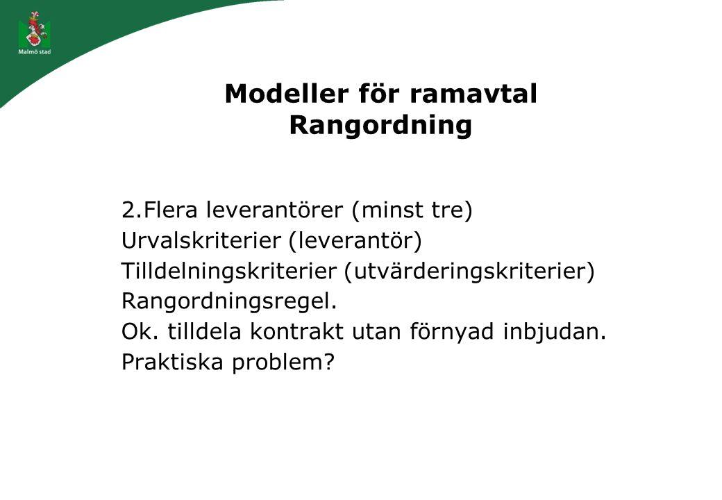 Modeller för ramavtal Rangordning