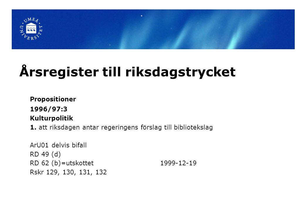 Årsregister till riksdagstrycket