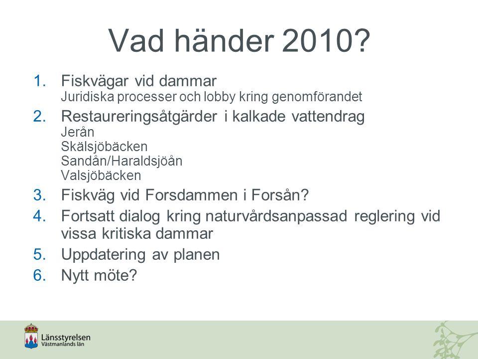 Vad händer 2010 Fiskvägar vid dammar Juridiska processer och lobby kring genomförandet.