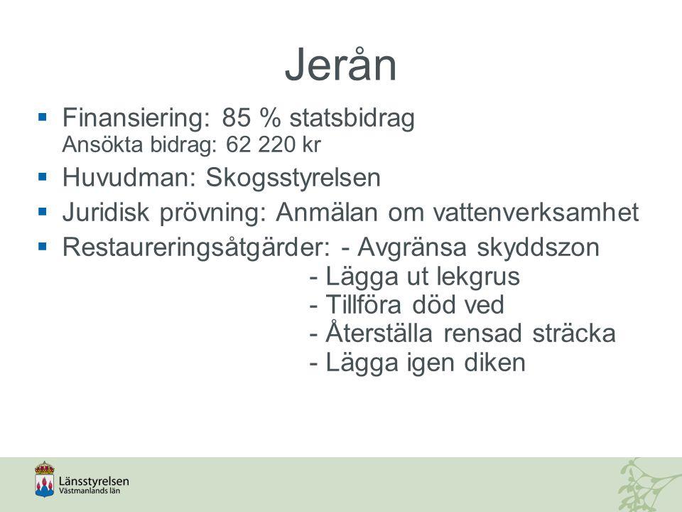 Jerån Finansiering: 85 % statsbidrag Ansökta bidrag: 62 220 kr