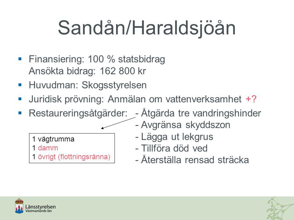 Sandån/Haraldsjöån Finansiering: 100 % statsbidrag Ansökta bidrag: 162 800 kr. Huvudman: Skogsstyrelsen.