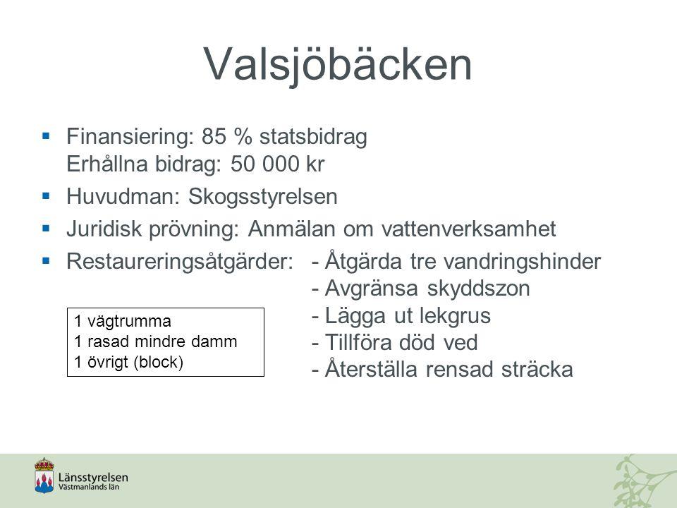 Valsjöbäcken Finansiering: 85 % statsbidrag Erhållna bidrag: 50 000 kr