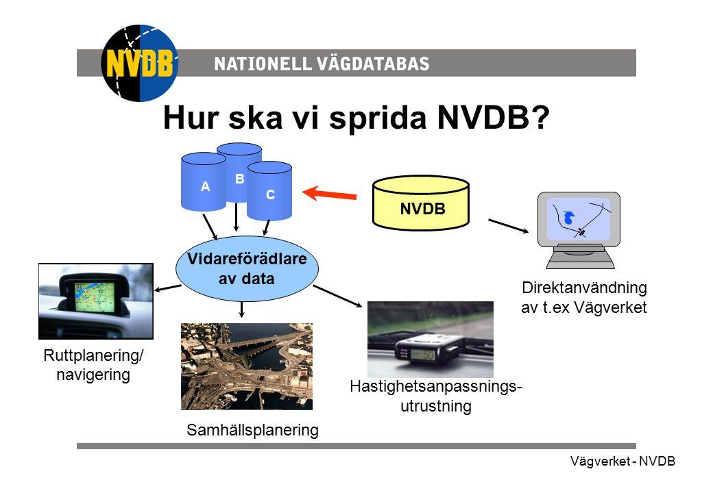 Hur ska vi sprida NVDB NVDB Vidareförädlare av data
