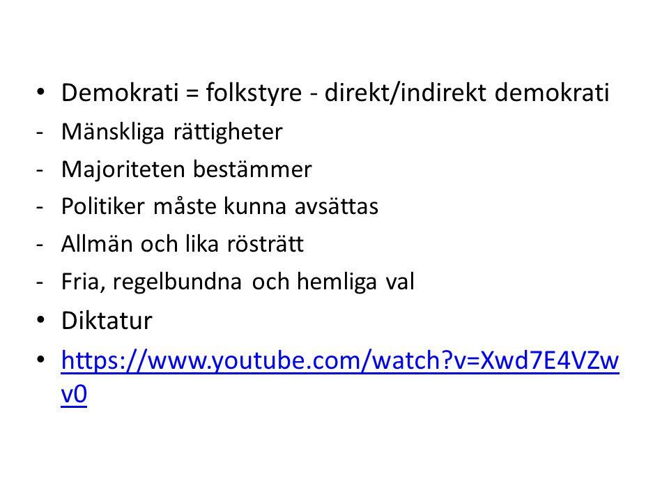 Demokrati = folkstyre - direkt/indirekt demokrati