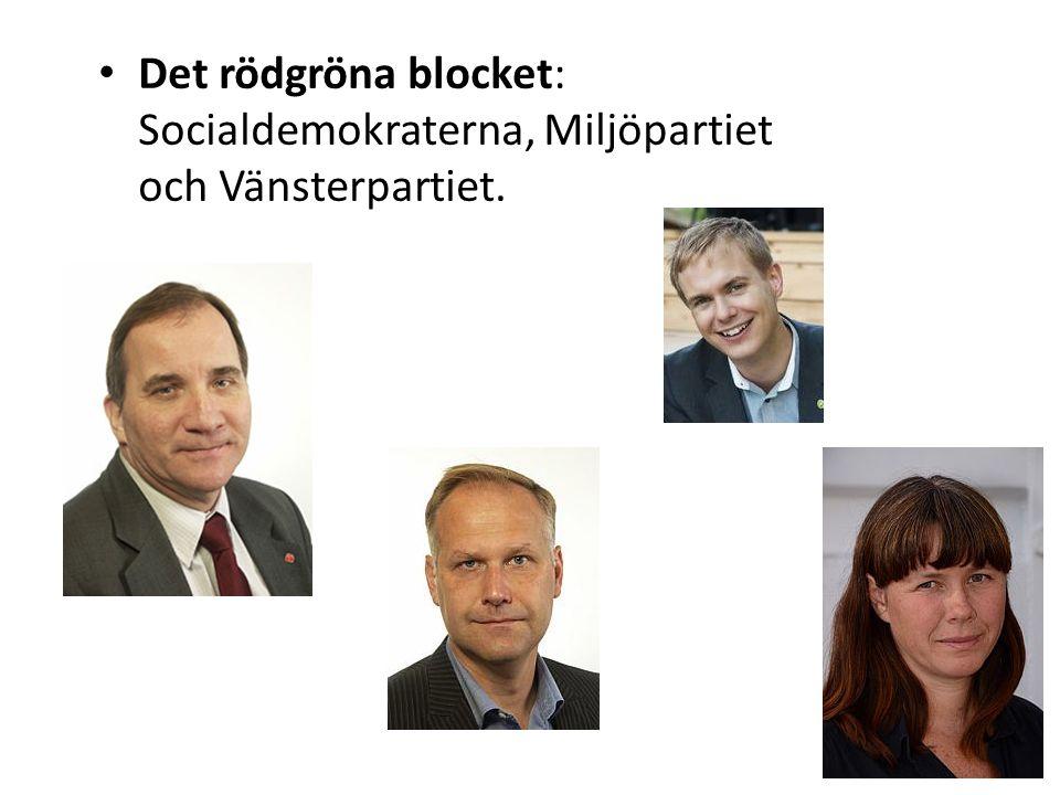 Det rödgröna blocket: Socialdemokraterna, Miljöpartiet och Vänsterpartiet.