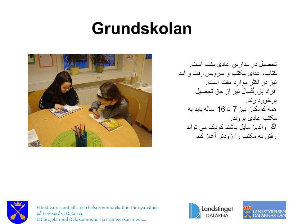 Grundskolan تحصیل در مدارس عادی مفت است.
