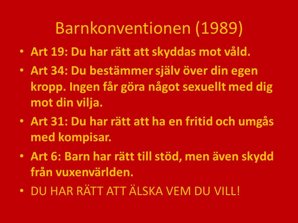 Barnkonventionen (1989) Art 19: Du har rätt att skyddas mot våld.