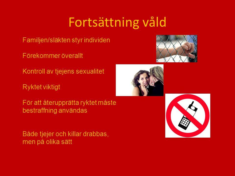 Fortsättning våld Familjen/släkten styr individen Förekommer överallt