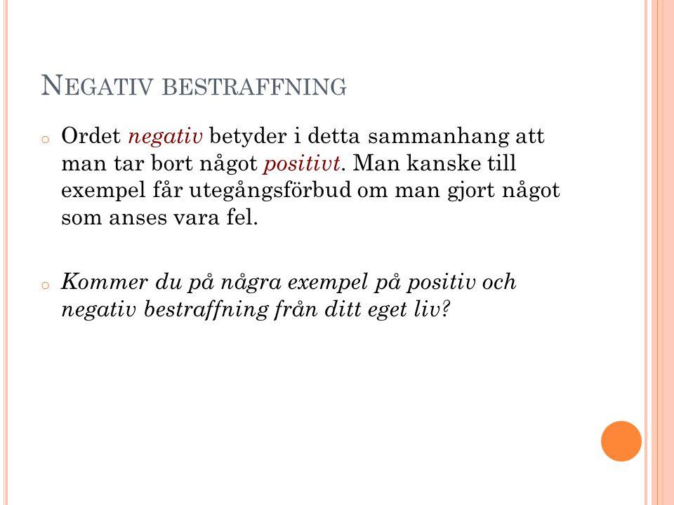 Negativ bestraffning