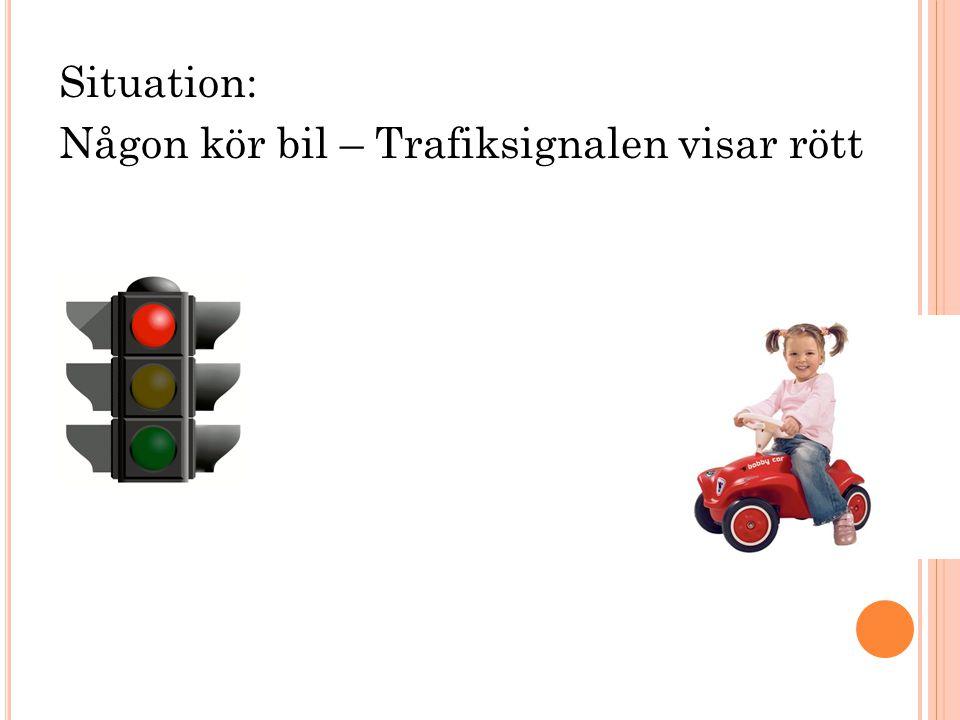 Situation: Någon kör bil – Trafiksignalen visar rött