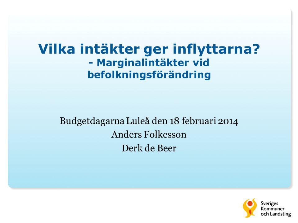 Budgetdagarna Luleå den 18 februari 2014 Anders Folkesson Derk de Beer