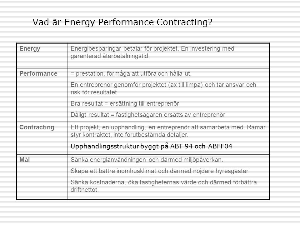 Vad är Energy Performance Contracting