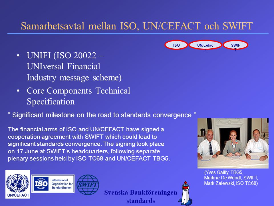 Samarbetsavtal mellan ISO, UN/CEFACT och SWIFT