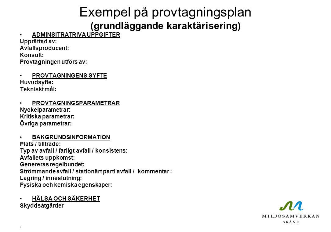 Exempel på provtagningsplan (grundläggande karaktärisering)