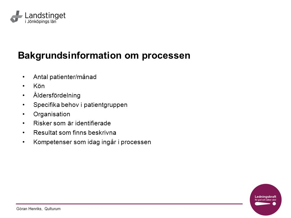 Bakgrundsinformation om processen