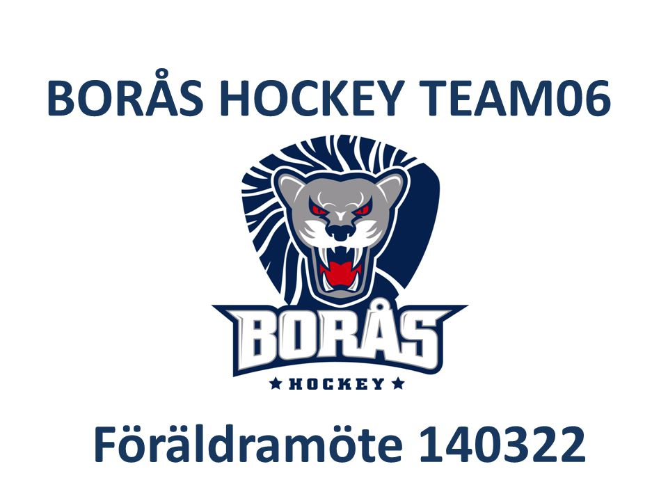 BORÅS HOCKEY TEAM06 Föräldramöte 140322