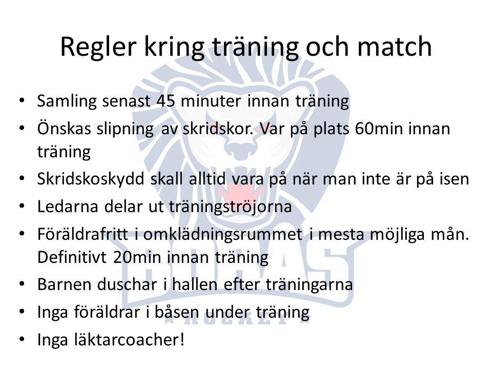 Regler kring träning och match
