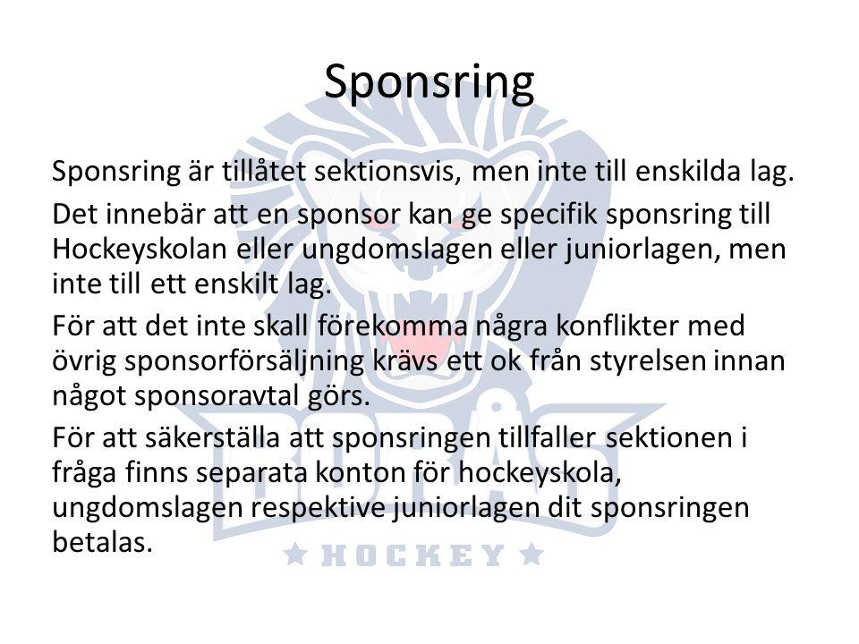 Sponsring Sponsring är tillåtet sektionsvis, men inte till enskilda lag.