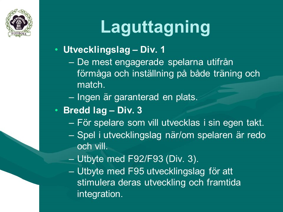Laguttagning Utvecklingslag – Div. 1