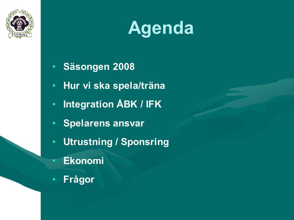 Agenda Säsongen 2008 Hur vi ska spela/träna Integration ÅBK / IFK