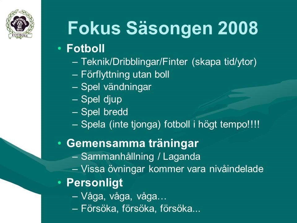 Fokus Säsongen 2008 Fotboll Gemensamma träningar Personligt