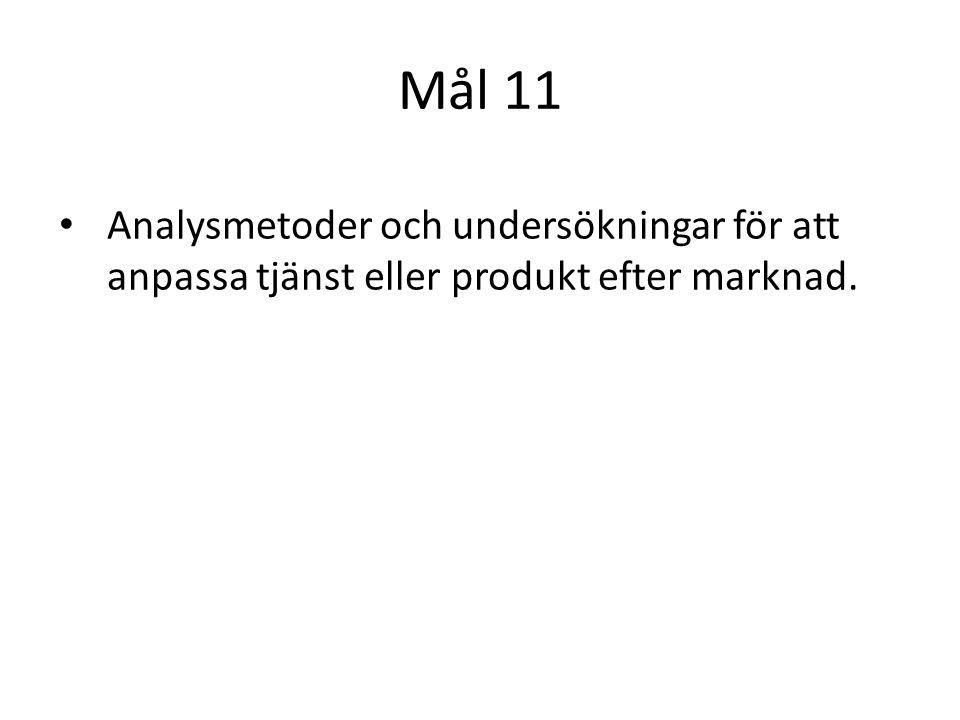 Mål 11 Analysmetoder och undersökningar för att anpassa tjänst eller produkt efter marknad.