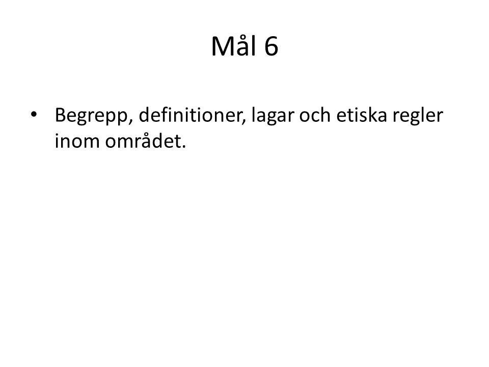 Mål 6 Begrepp, definitioner, lagar och etiska regler inom området.