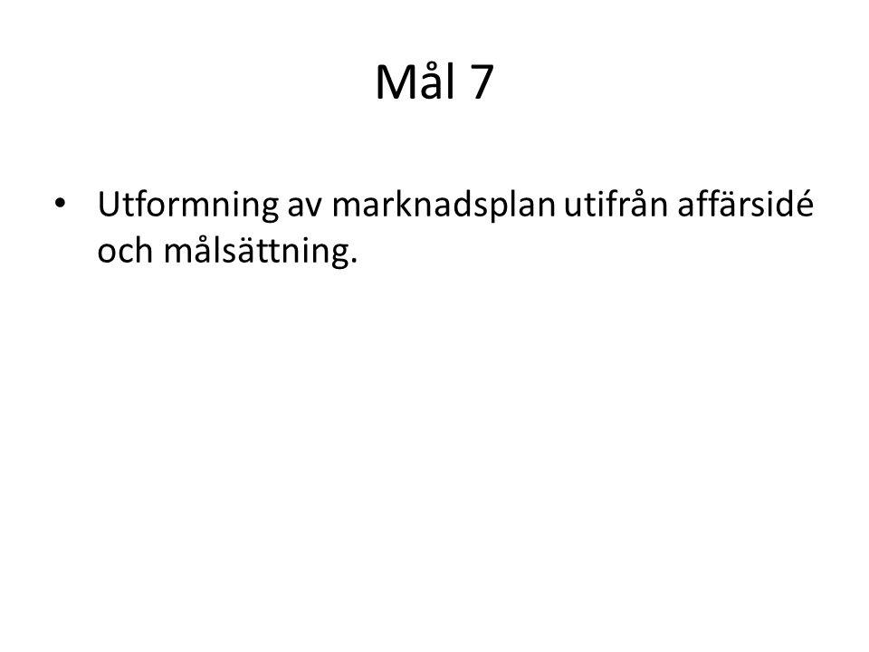 Mål 7 Utformning av marknadsplan utifrån affärsidé och målsättning.