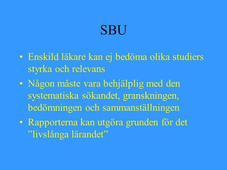 SBU Enskild läkare kan ej bedöma olika studiers styrka och relevans