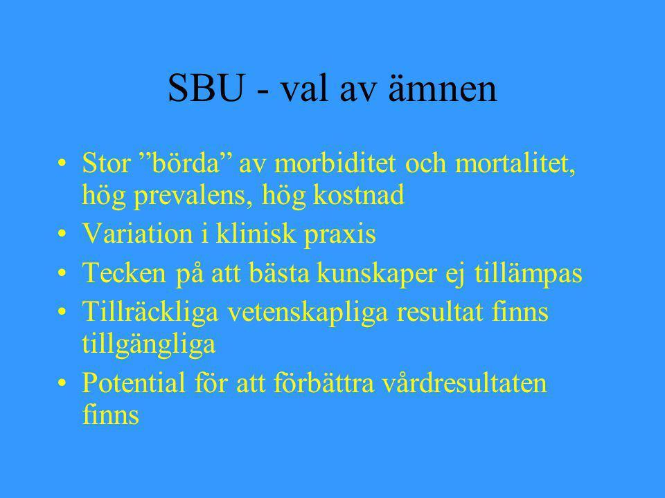 SBU - val av ämnen Stor börda av morbiditet och mortalitet, hög prevalens, hög kostnad. Variation i klinisk praxis.