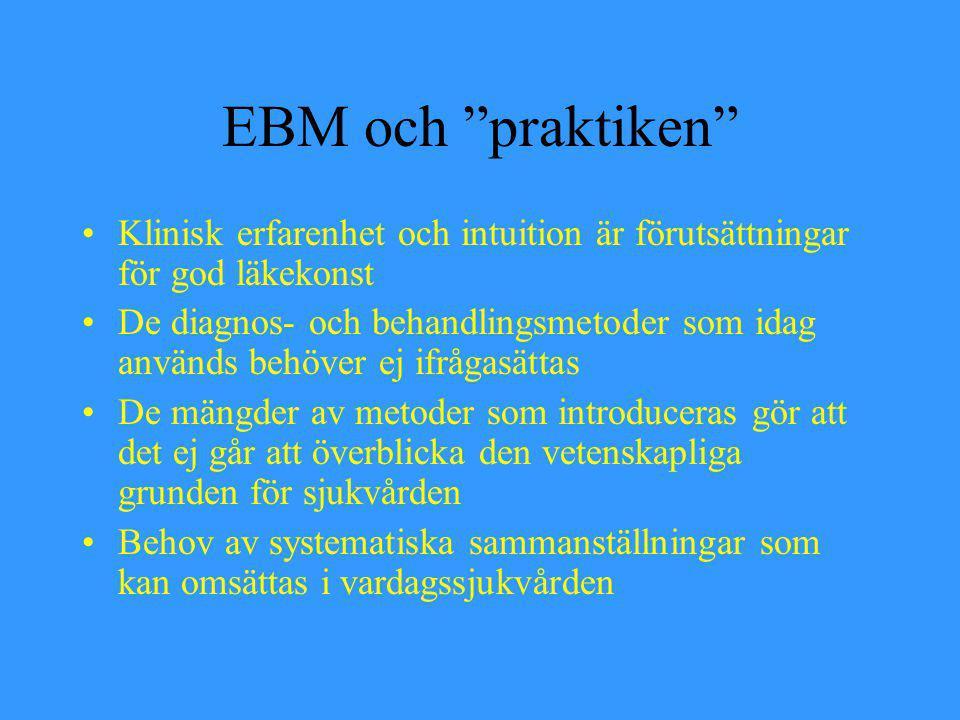 EBM och praktiken Klinisk erfarenhet och intuition är förutsättningar för god läkekonst.