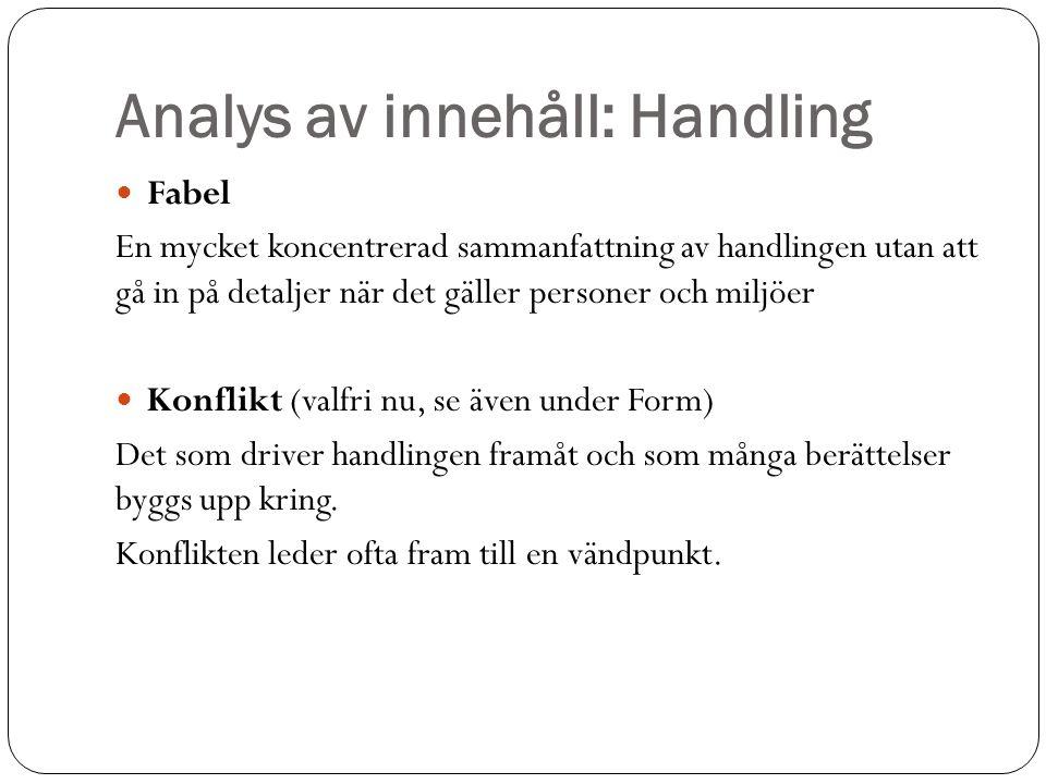Analys av innehåll: Handling