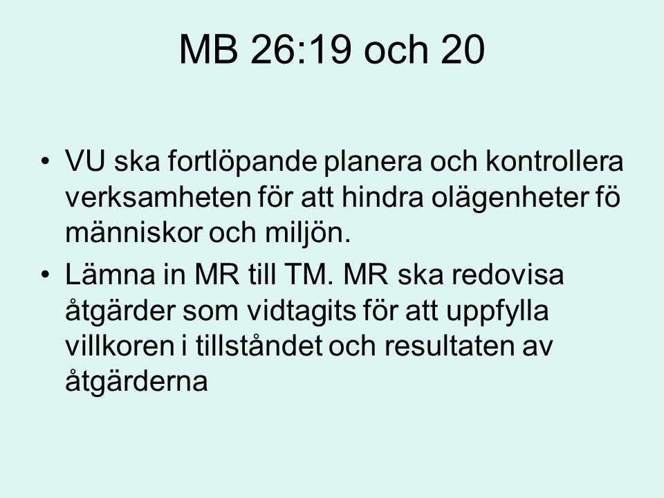 MB 26:19 och 20 VU ska fortlöpande planera och kontrollera verksamheten för att hindra olägenheter fö människor och miljön.