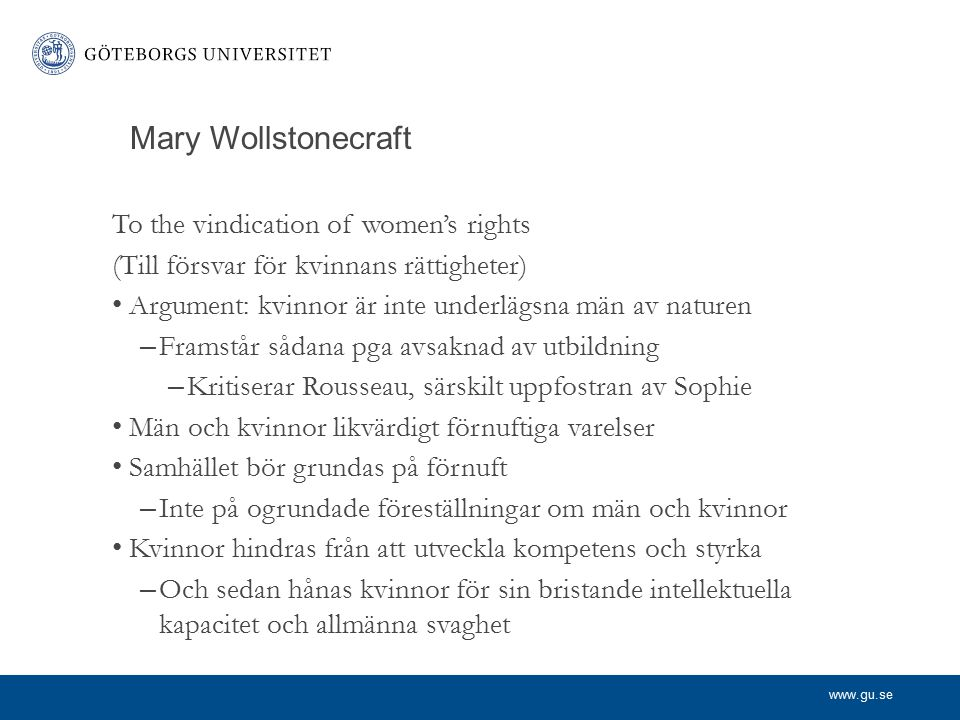 Mary Wollstonecraft To the vindication of women's rights
