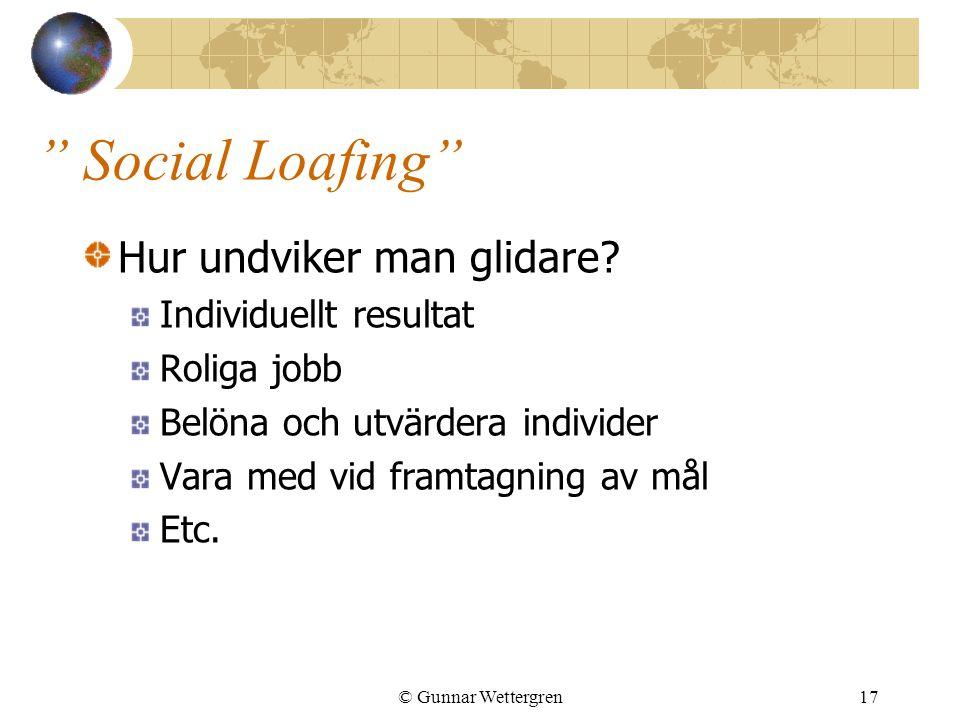 Social Loafing Hur undviker man glidare Individuellt resultat